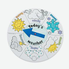 12 Color Your Own Weather Wheels. Color and spin! Kids will love to learn about weather with this fun wheel.