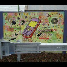 2010 Jan Cleveringa Semiotic Poetry in the Suburbs, 30m x 2m (section) #Painting #paint #Art #artist #drippingpaint #graff #gallery #graffiti  #street #streetart #publicart #public #cool #commission #acrylicpaint #curatorialpractice #culture #mobilephone #cellphone #symbols #symbol #sydney