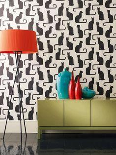 For the cat room :) Fancy Felines: Black Cat Decor Cats Wallpaper, Funky Wallpaper, Future Wallpaper, Classic Wallpaper, Interior Wallpaper, Bedroom Wallpaper, Wallpaper Decor, Modern Wallpaper, Perfect Wallpaper