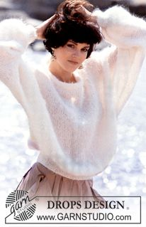 Feel like a snow princes in this light and warm jumper in silky mohair! A timeless pattern that you can use again and again! aus Mohair Janelle / DROPS - Free knitting patterns by DROPS Design Jumper Knitting Pattern, Jumper Patterns, Chunky Knitting Patterns, Knit Patterns, Free Knitting, Knitting Sweaters, Finger Knitting, Loose Knit Sweaters, Knitting Machine