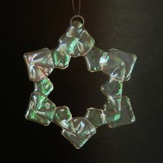 BAUBLES Iridized Fused Glass Snowflake Ornament by TheWoCo on Etsy, $15.00