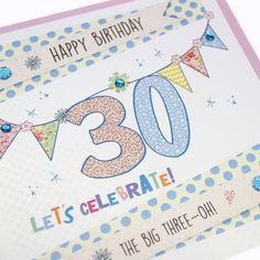 Handmade 30th Birthday Card Embossed Gold Shimmer Dotty Polka Dot Bunting Sparkling Turquoise Crystals - 'The Big Three-Oh!'