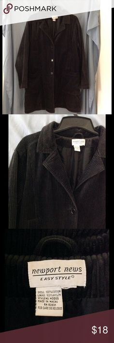 Long corduroy coat A very dark charcoal grey.  No size.  Long corduroy coat with collar.  Lined.  Fall weight (not a heavy coat) No hood.  Newport News brand.  Color may look different on your screen. Newport News Jackets & Coats Trench Coats