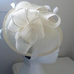 TheHeadwearBoutique on Etsy- Megan Off-White Fascinator, Cream Derby Hat