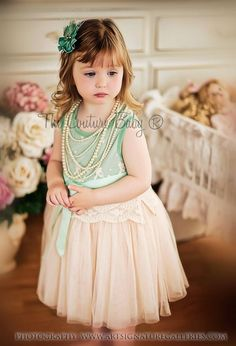 Sage Vintage Lace Dress from The Couture Baby