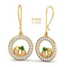 The gold designer Victorian earring has ring shape design with full of zircon stones and it has unique red stone inside. Checkout the fashioned Victorian earrings from aurobliss gold jewellers. Gold Earrings, Gold Jewelry, Drop Earrings, Jewellery, Diwali Sale, Diwali Gifts, Ring Shapes, Jewels, Gemstones