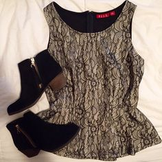 lace peplum top black and ivory • lace detail • zipper down back • elle brand • never worn Elle Tops