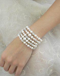 Bridal Bracelet Chunky Bridal Bracelet Pearl by CrystalAvenues