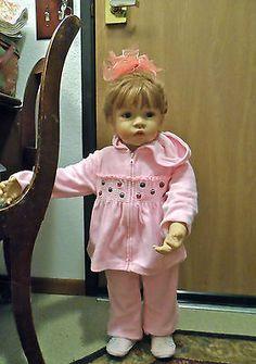 """29"""" Toddler/Child Doll Light Brown Hair Blue Eyes Ashton Drake-Preowned & Loved!"""