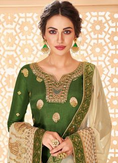 Buy Green Jacquard Palazzo Suit In USA, UK, Canada, Australia, Newzeland online