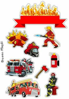 Firefighter Birthday Cakes, Fireman Cake, Happy Birthday Blue, Elsa Birthday Party, Reward Stickers, Teacher Stickers, Cake Wallpaper, Cartoon Wallpaper, Paper Clip Art
