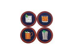 Gentleman's Drinks Needlepoint Coaster Set