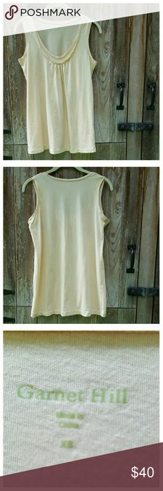 "♨LAST CHANCE♨Garnet Hill Ruched Faux Layered Tank Super soft lightweight tank with faux layered neckline in Gold Dust (soft golden beige). Relaxed fit, longer length, gathering below neckline. 100% cotton, machine wash/dry.  Length from shoulder 25"", width at bust 17.5"", width at hem 20%. Garnet Hill Tops Tank Tops"