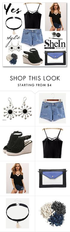 """Shein Blue Ripped Denim Shorts"" by ludmyla-stoyan ❤ liked on Polyvore featuring NOVICA"
