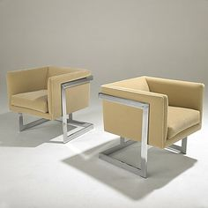 Merveilleux 899: MILO BAUGHMAN; THAYER COGGIN Pair Of T Back Chairs On