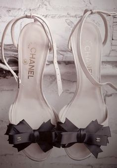 (no description needed) Chanel Sandals, Bow Sandals, Chanel Pumps, Chanel Slingbacks, Bow Shoes, Chanel Slippers, Cute Shoes, Gucci Shoes, Ysl Heels