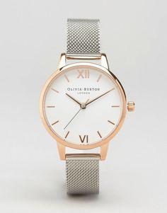 17e9f656f4d Olivia Burton OB16MDW02 White Dial Mesh Watch In Silver   Rose Gold