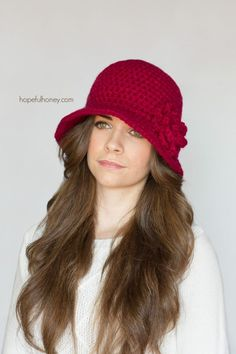 Cloche Hat - Free Crochet Pattern by Hopeful Honey Crochet Crafts, Easy Crochet, Free Crochet, Knit Crochet, Unique Crochet, Sombrero A Crochet, Crochet Beanie, Knitted Hats, Crochet Stitches