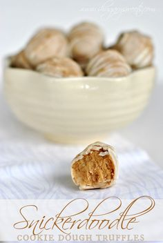 Snickerdoodle Cookie Dough Truffles: delicious no-egg cookie dough centers dipped in a cinnamon sugar vanilla coating. Perfect treat!