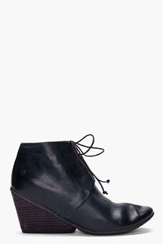 MARSELL //  MIDNIGHT GREEN PENNOLINA WEDGES  #shoes    Textured leather wedge boots in midnight green. Round toe. Black lace-up closure. Signature logo stamp at heel. Tonal stitching. Approx. 3'' heel. Upper: 100% leather. Sole: 100% rubber. Made in Italy.  $930.00 USD