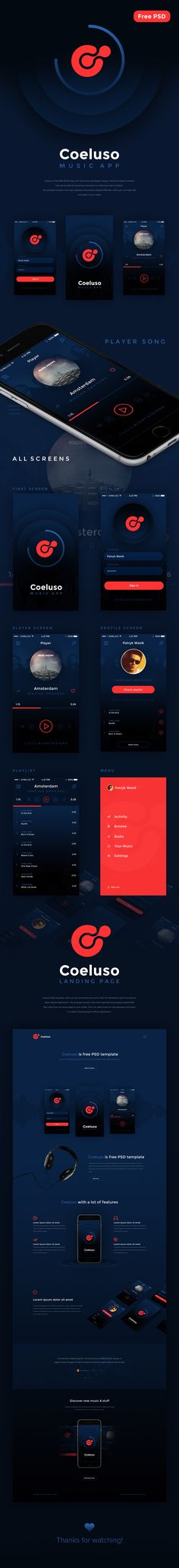 Coeluso is free PSD Mobile App with clean fonts and elegant design. Coeluso…