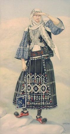 NICOLAS SPERLING #18 - Sarakatsan Costume (Attica) Greek Traditional Dress, Traditional Fashion, Traditional Outfits, Costume Shop, Folk Costume, Greek Dancing, Costumes Around The World, Islamic Paintings, Greek History