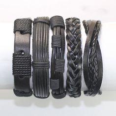 5 Piece Handmade Leather Bracelet Set Men's Leather Bracelet Women's Braided Leather Wrap Braclet BST-186