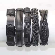 5 Piece Handmade Leather Bracelet Set Men's Leather Bracelet Women's Braided Leather Wrap Braclet BST-186