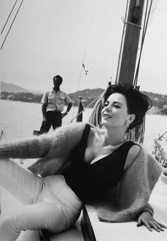 Natalie Wood relaxes on a sailboat during the 1962 Cannes Film Festival