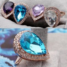 Exquisite Bright Water-drop Shape Crystal Rhinestone Inlaid Finger Ring