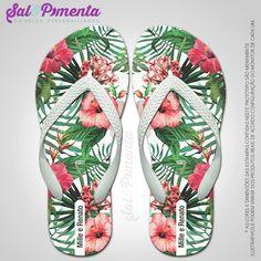Chinelos Personalizados Casamento Floral | Sal E Pimenta Chinelos | Elo7