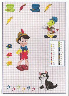 Pinocchio il Grillo Parlante e mini oggetti - magiedifilo.it punto croce uncinetto schemi gratis hobby creativi