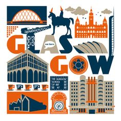 noroomforthepresent: Glasgow's landmarks including the Riverside Museum, Glasgow Tower, Beresford Building, Finnieston Crane and the Duke of Wellington statue, complete with traffic cones! (via Glasgow Scotland print by SusanTaylorUK on Etsy) Glasgow City, Glasgow School, Glasgow Scotland, Scotland Travel, Glasgow Architecture, Riverside Museum, Art Nouveau Poster, City Landscape, Book Projects