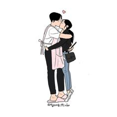 Heart-Warming Illustrations Depict The Romantic Moments Of A Happy Couple Love Kiss Couple, Cute Couple Art, Cute Couple Drawings, Love Drawings, Aesthetic Drawing, Aesthetic Anime, Anime Couples, Cute Couples, Happy Couples