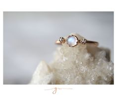 Moonstone and Rosecut Diamonds set in Rose Gold by Gaby Marcos Atelier Gems Jewelry, Rose Cut Diamond, Rose Gold, Stud Earrings, Diamonds, Rings, Gold, Feminine, Atelier