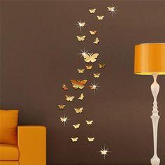 3D Art Acrylic Mirror Butterfly Wall Sticker DIY Vinyl Wall Decal Home Decor