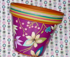Hand Painted Flower Pot Terracotta 6 Inch Berry by ThePaintedPine, $25.00