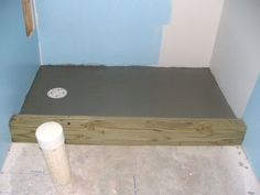 How to Finish a Basement Bathroom - build the tile shower pan. I install the sho. - How to Finish a Basement Bathroom – build the tile shower pan. I install the shower curb, mortar bed, shower pan liner and cement backer board on the walls. Concrete Basement Walls, Basement Stairs, Basement Flooring, Basement Ideas, Walkout Basement, Rustic Basement, Basement Office, Concrete Board, Basement Layout