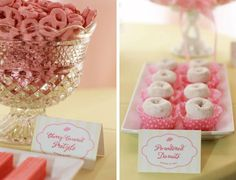 Sweets from a pink & yellow dessert table - love the simplicity of the powdered donuts in baking cups!