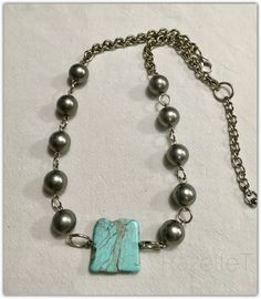 Turquoise howlite with metal beads necklace by RazelleT. Metal Beads, Turquoise Bracelet, Beaded Necklace, Jewellery, Bracelets, Beaded Collar, Jewels, Jewelry Shop, Schmuck