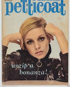 Twiggy covers Petticoat magazine, 108-s 1960s vintage fashion, mod, swinging sixties