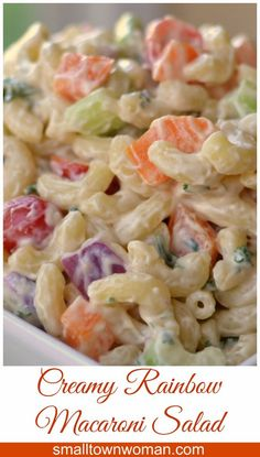 This Creamy Macaroni Salad is a real crowd-pleaser. It is perfect for your next patio party but simple enough for a week night dinner with grilled steak and corn. Creamy Macaroni Salad, Creamy Pasta Salads, Summer Pasta Salad, Pasta Salad Recipes, Summer Salads, Macaroni Salads, Savory Salads, Pasta Side Dishes, Pasta Sides