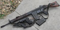 Cetme (or possibly a HK G3) and a Walther P-1