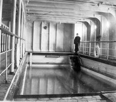 The only picture of the pool with water in it was taken by passenger Frank Browne.  Spartan by today's standards it was luxurious then.