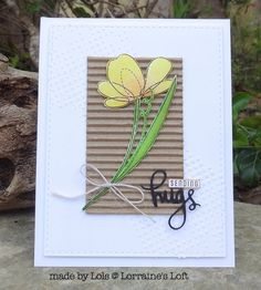 handmade card from Lorraine's Loft: Simon Says 'Spring Flowers' ... luv the textures ... corrugated main panel .. white on white stencil paste dots ... twine bow and die cuts ..