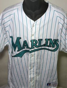 6af1938a887c9a Throwback FLORIDA MARLINS Mens Medium Baseball MLB RUSSELL Jersey White   Russell  FloridaMarlins  throwback