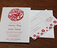 A digital version of our Chinese inspired wedding invitation looks divine here in a candy red color. Ying   Invitations by Ajalon   invitationsbyajalon.com