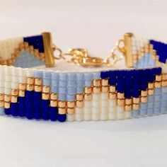 Bracelet tissé en perles miyuki coloris bleu/doré