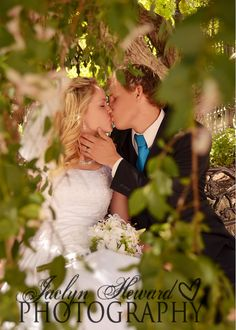 wedding picture ideas.  Peeking through the leaves.  Salt lake city temple wedding Jaclyn Heward Photography