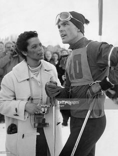 Austrian skier Toni Sailer is surrounded by fans in February 1956 in Cortina d'Ampezzo during the Winter Olympic Games. Sailer won three gold medals (downhill slalom and giant slalom) during the competition. Winter Olympic Games, Winter Olympics, Alpine Skiing, Vintage Ski, Best Mother, Stock Pictures, Royalty Free Photos, My Eyes, Competition